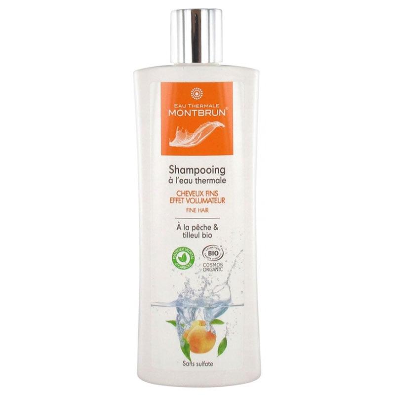 Dầu gội hữu cơ không sulfate dành cho tóc mỏng giúp tạo độ phồng tóc hương đào, chi đoạn Montbrun 250ml
