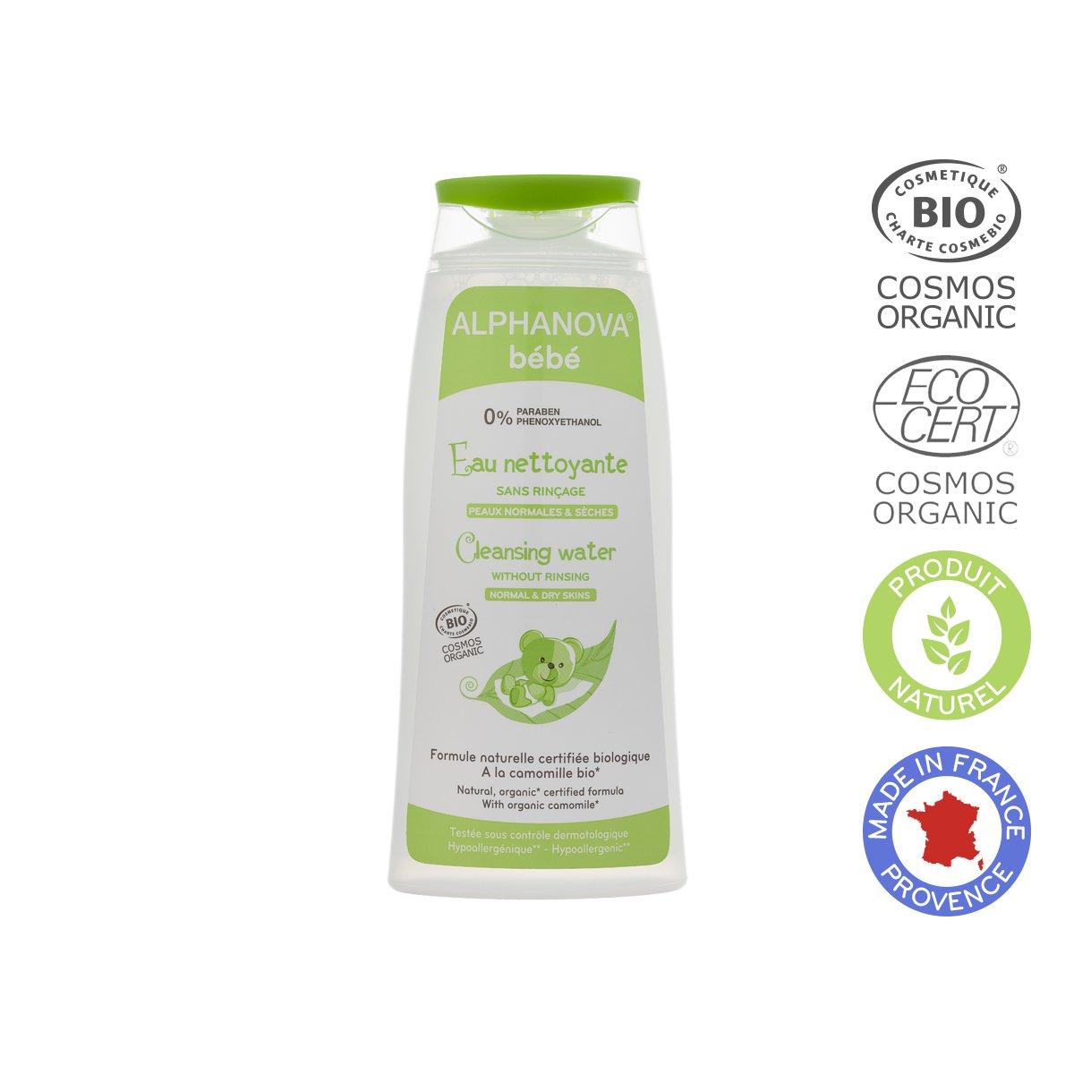 Nước vệ sinh mặt và cơ thể hữu cơ cho bé không cần rửa lại Alphanova 200ml