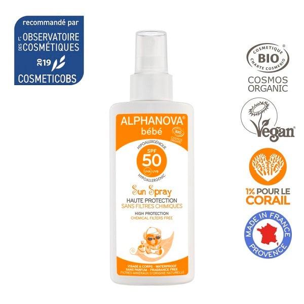 Kem chống nắng hữu cơ cho bé dạng xịt SPF50 Alphanova 125g
