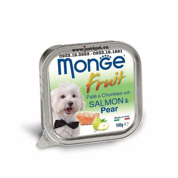 Pate Monge Fresh cho chó nhiều mùi vị khay 100g