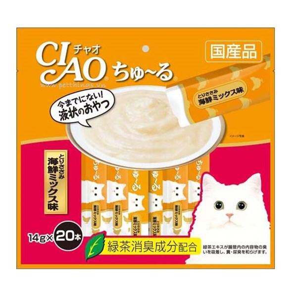 Bánh thưởng dạng sốt mịn Ciao Churu cho mèo gói 20 tuýp