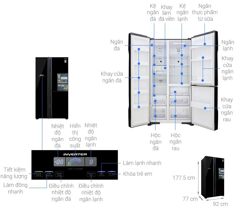 Tủ lạnh Hitachi Inverter 600 lít R-FM800PGV2(GBK) – Điện máy Eco-mart