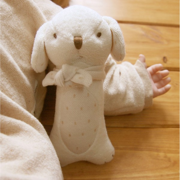 JOHN N TREE Baby Puppy handle rattle 17cm