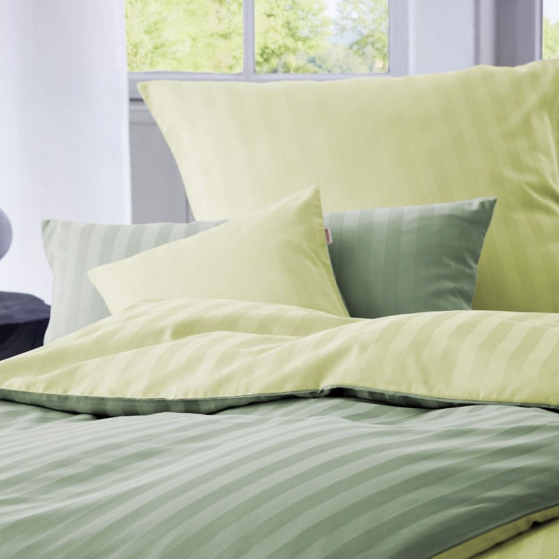 COTONEA Satin Linea Bedding reversible Lime/Kiwi