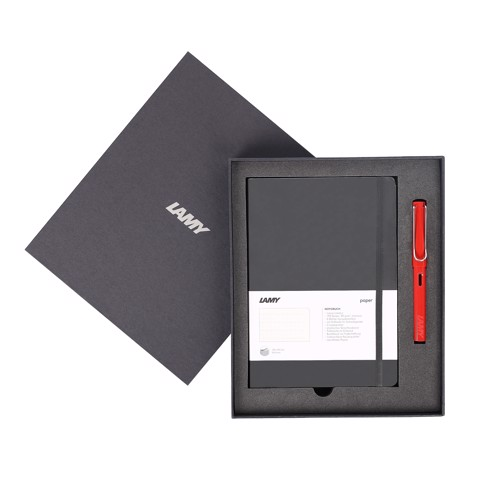 Gift set LAMY Notebook A5 softcover black + LAMY Safari Red