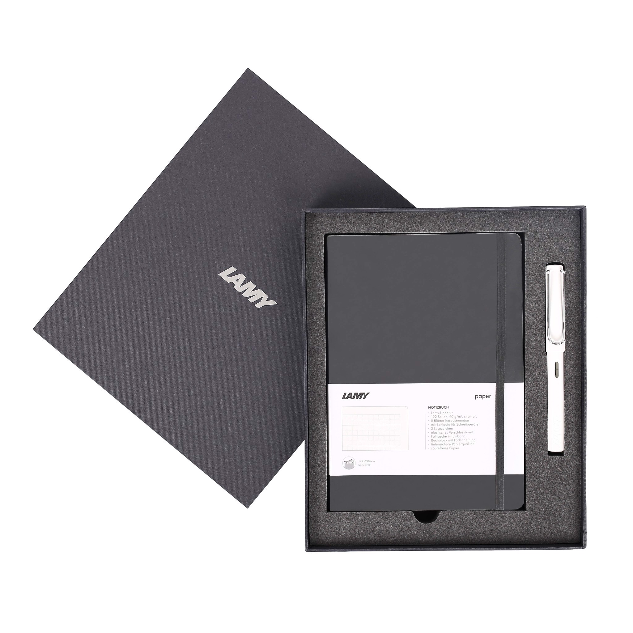 Gift set LAMY Notebook A5 softcover black + LAMY Safari White