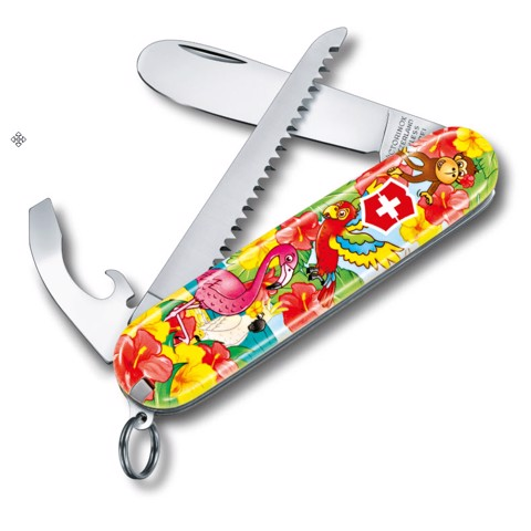 Dao xếp đa năng MY FIRST VICTORINOX COLORFUL SET FOR CHILDREN Parrot Edition 0.2373.E3