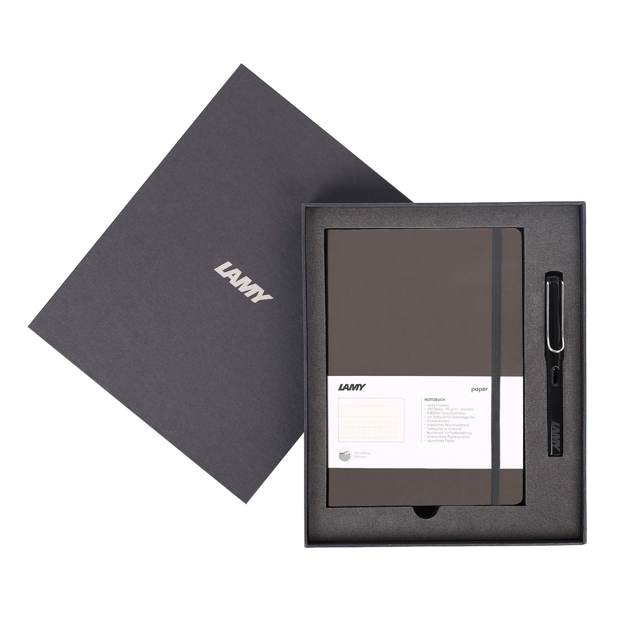 LAMY Notebook A5 softcover Umbra + LAMY Safari Shiny Black