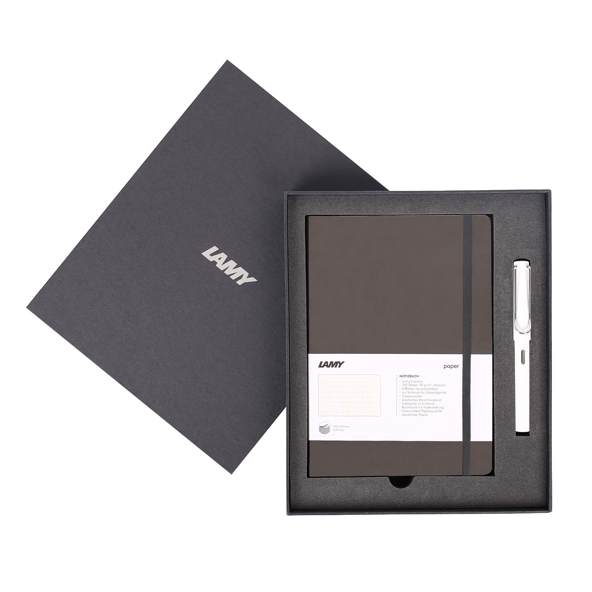 LAMY Notebook A5 softcover Umbra + LAMY Safari White