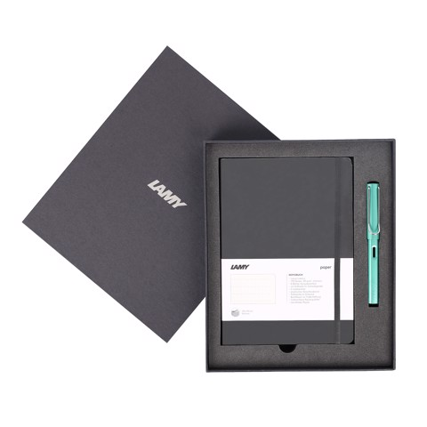 Gift set LAMY Notebook A5 softcover black + LAMY Al-star bluegreen