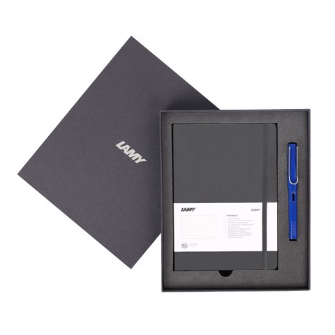 Gift set LAMY Notebook A5 softcover black + LAMY Safari ocean blue
