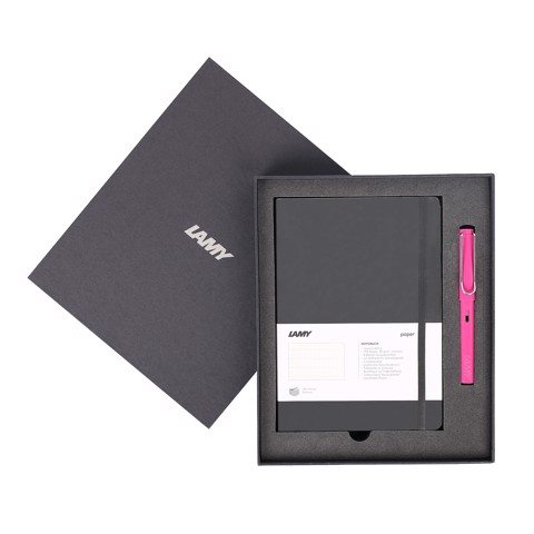 Gift set LAMY Notebook A5 softcover black + LAMY Safari Pink