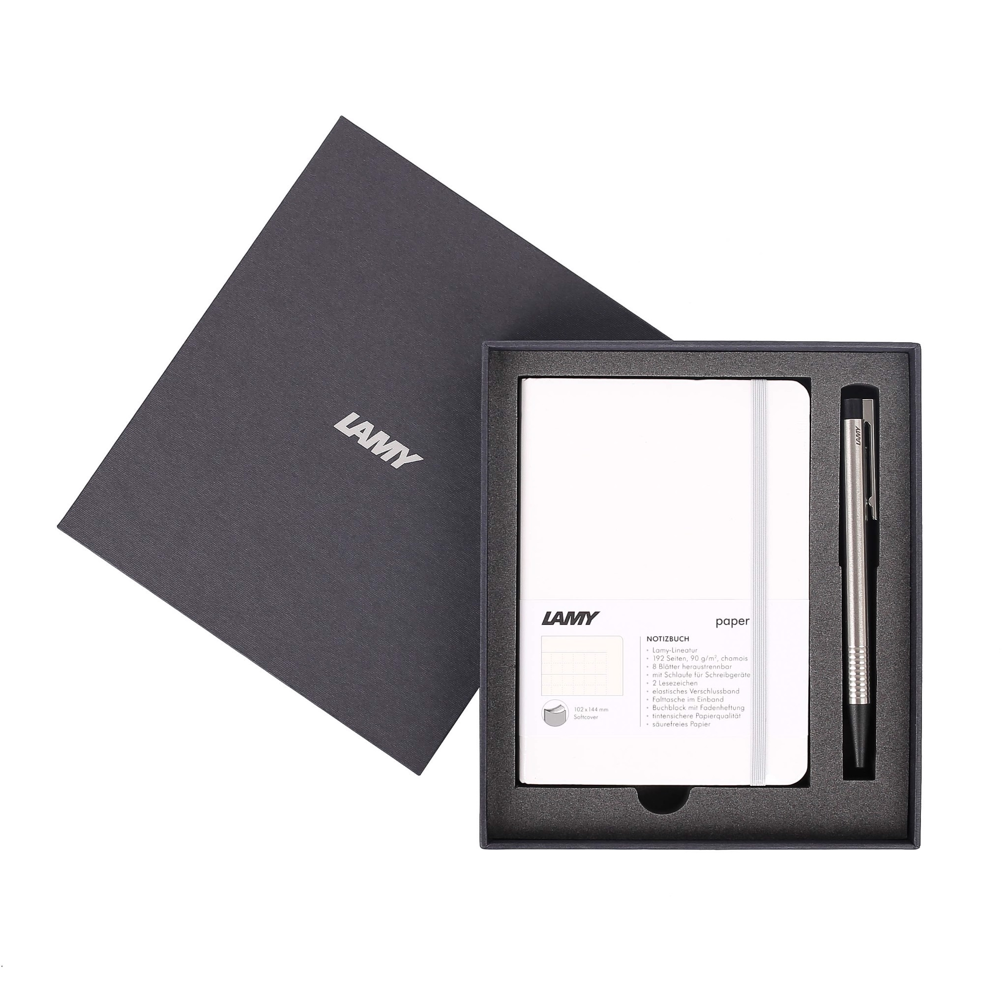 Gift set LAMY Notebook A6 softcover White + LAMY Logo Steel