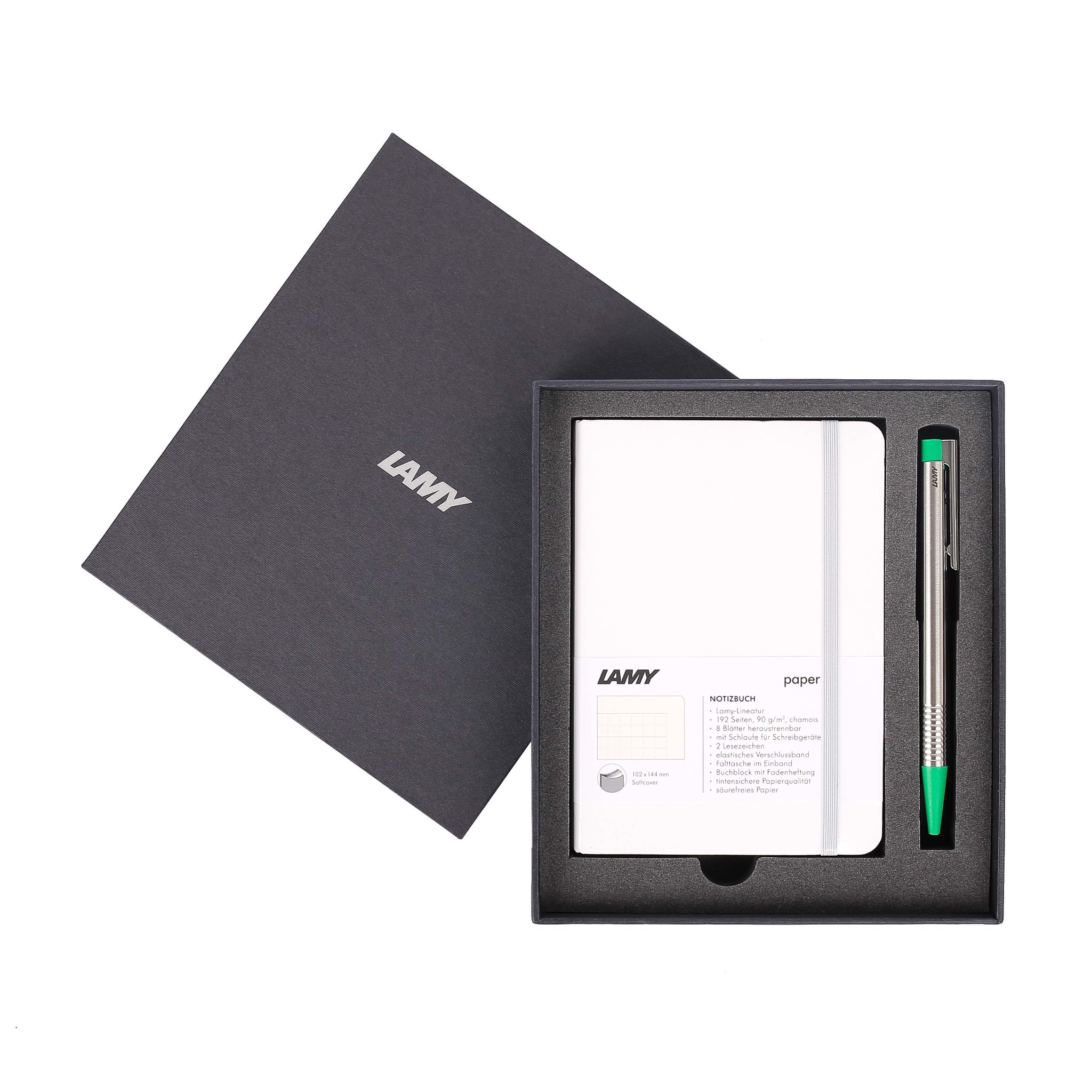 Gift set LAMY Notebook A6 softcover White + LAMY Logo Green