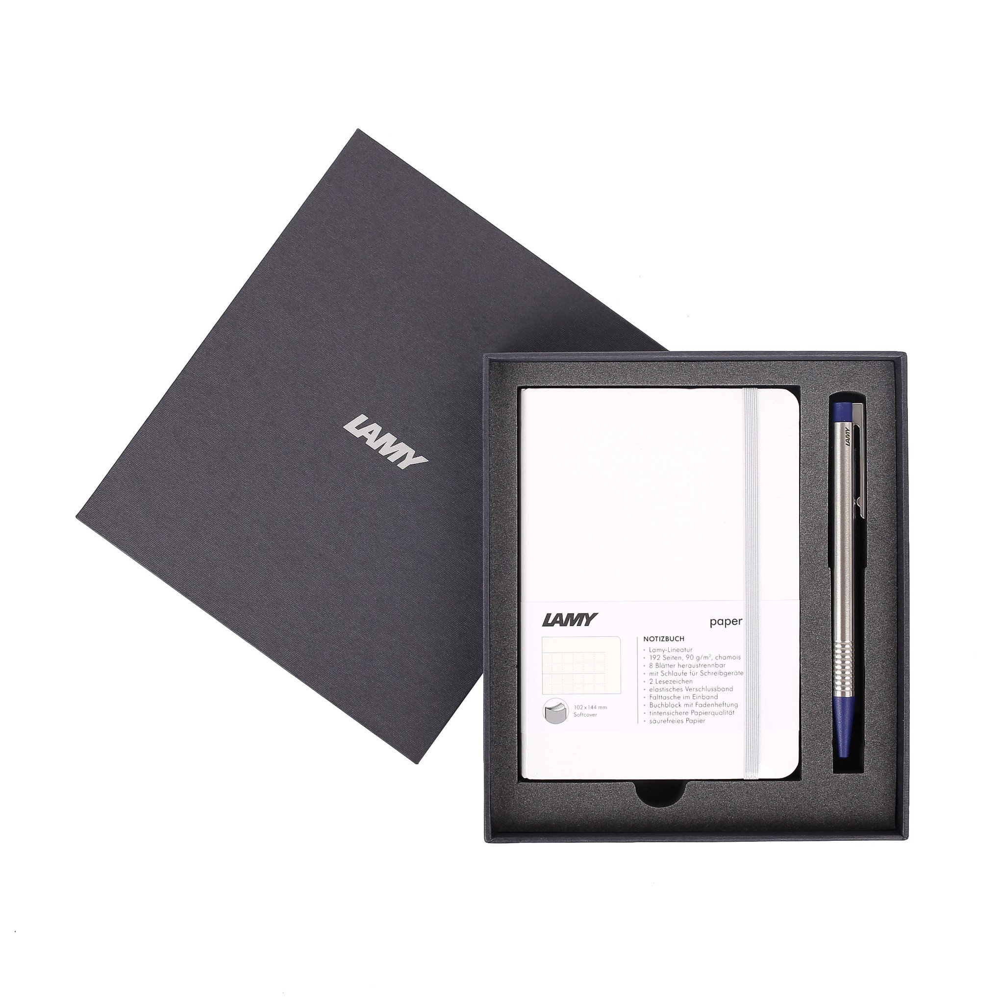 Gift set LAMY Notebook A6 softcover White + LAMY Logo Blue