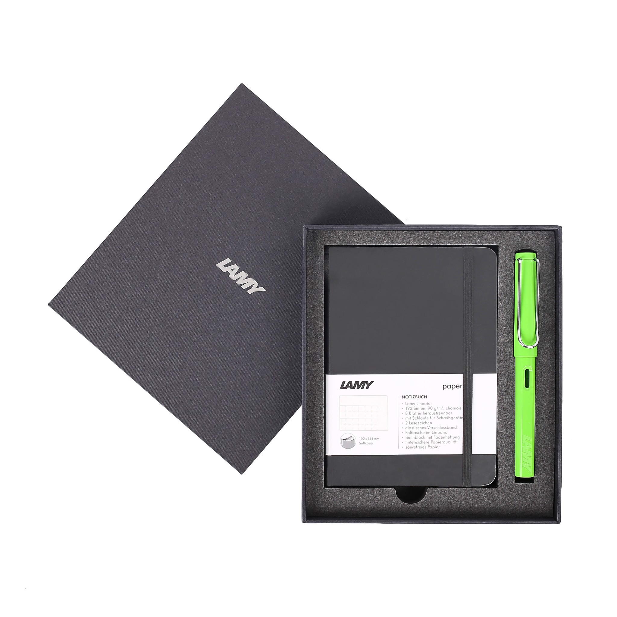 Gift set LAMY Notebook A6 softcover black + LAMY Safari Green