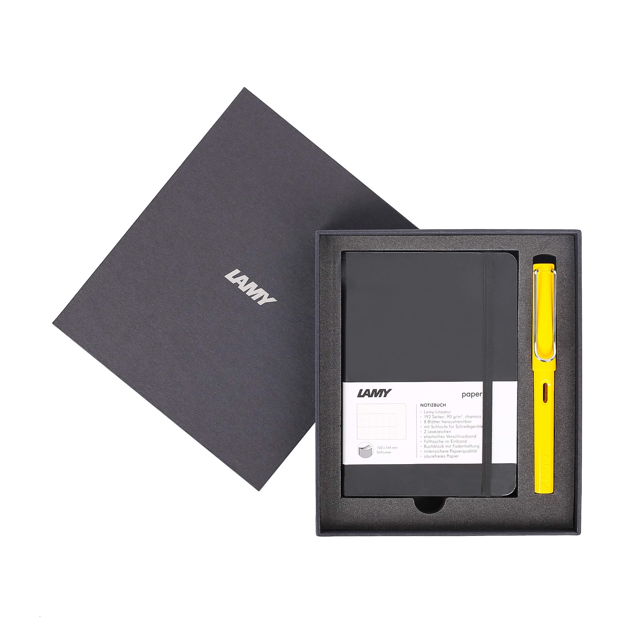 Gift set LAMY Notebook A6 softcover black + LAMY Safari Yellow