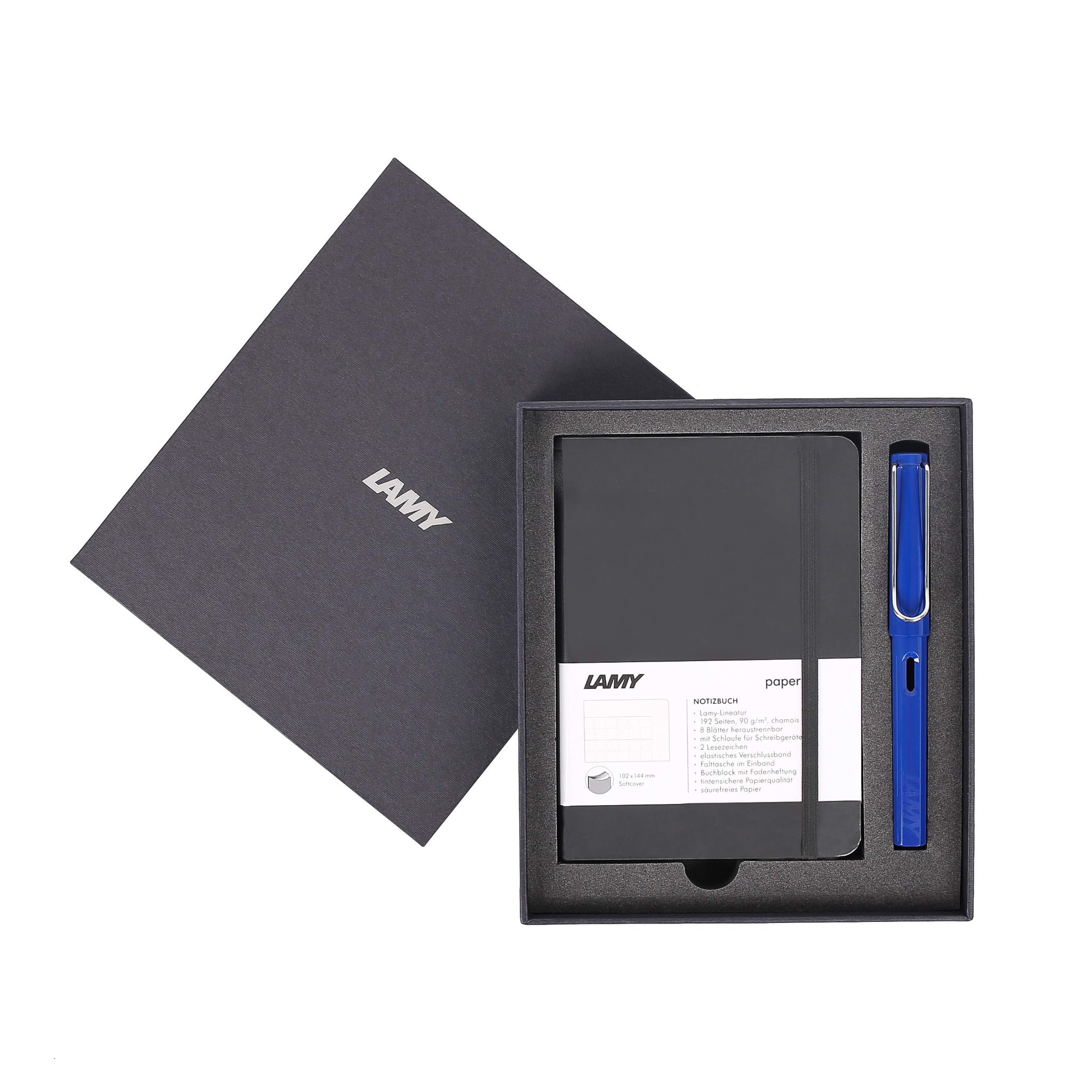 Gift set LAMY Notebook A6 softcover black + LAMY Safari Blue