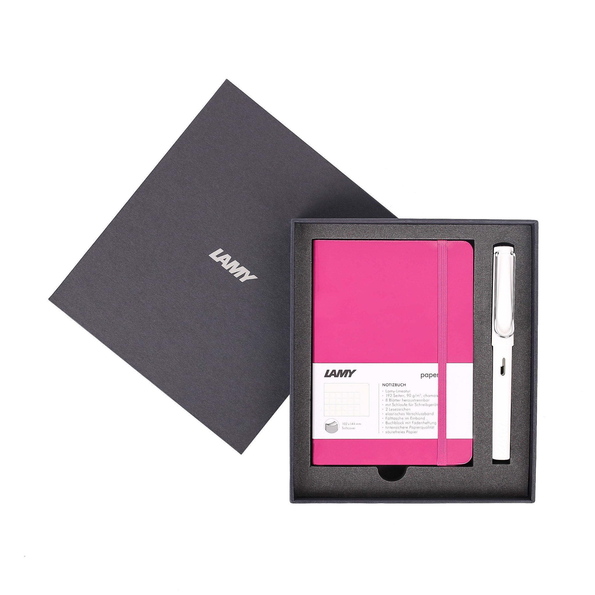 Gift set LAMY Notebook A6 softcover Pink + LAMY Safari White