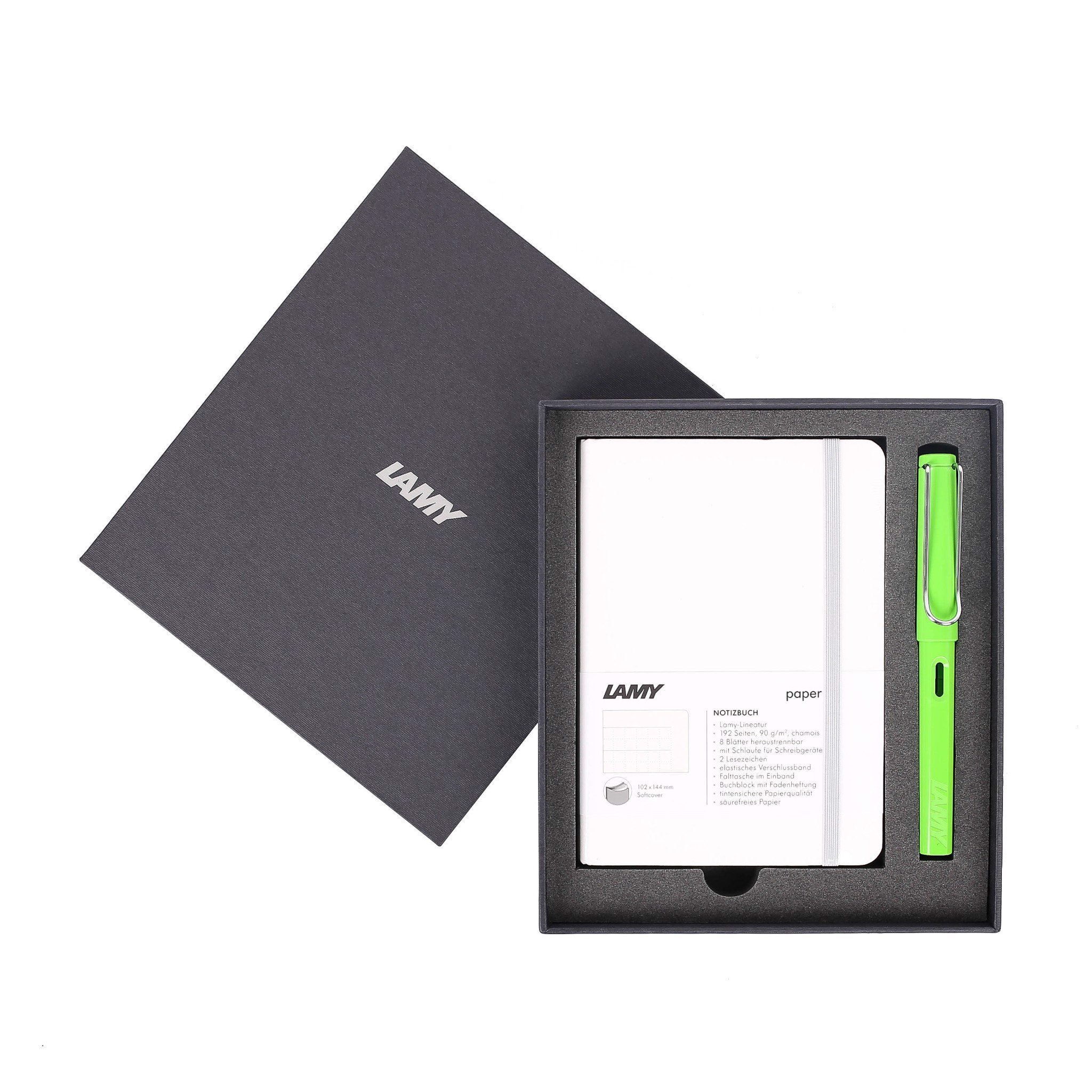 Gift set LAMY Notebook A6 softcover White + LAMY Safari Green