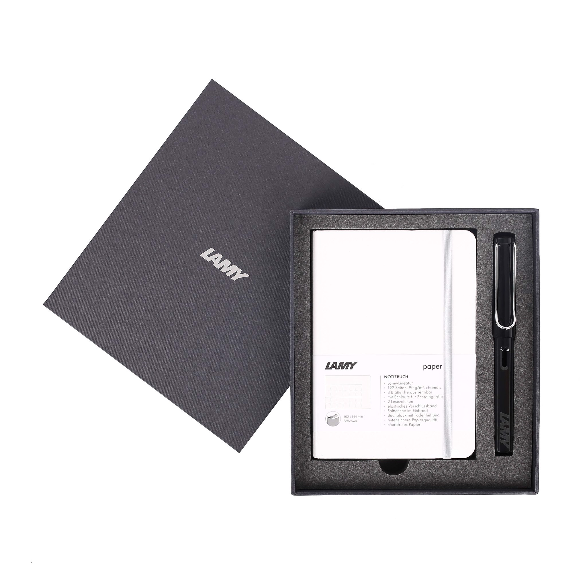 Gift set LAMY Notebook A6 softcover White + LAMY Safari Shiny Black