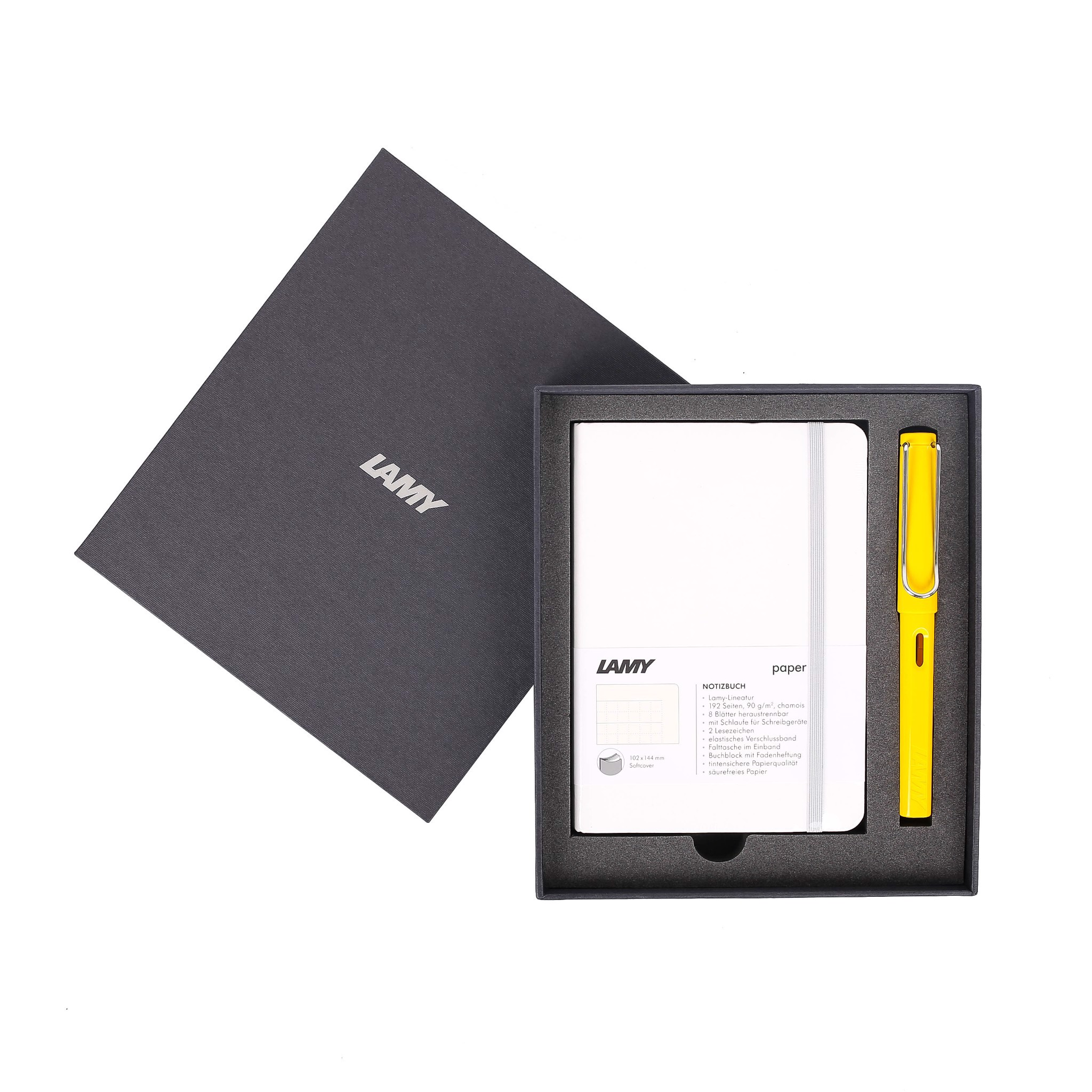 Gift set LAMY Notebook A6 softcover White + LAMY Safari Yellow