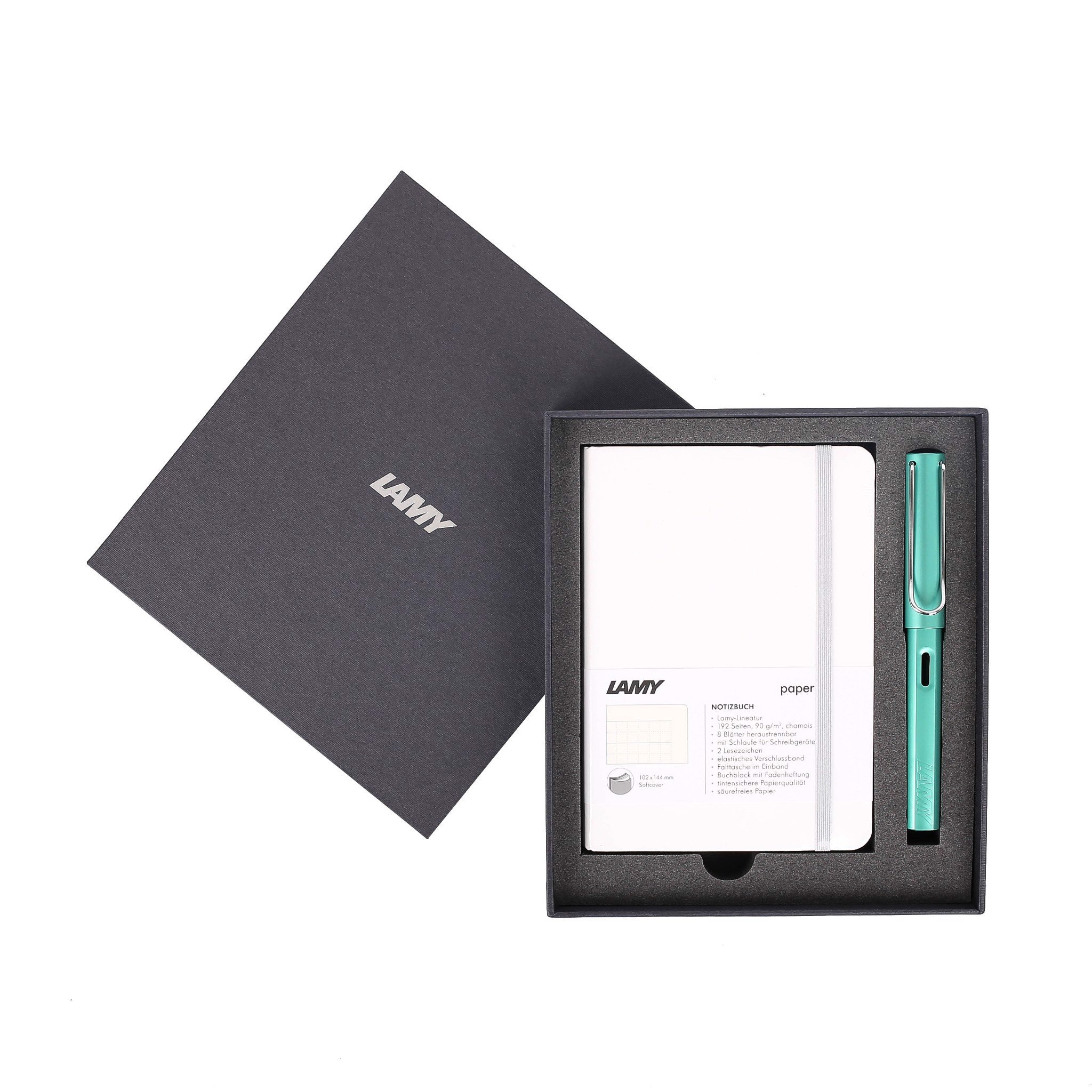 Gift set LAMY Notebook A6 softcover White + LAMY Al-star Bluegreen