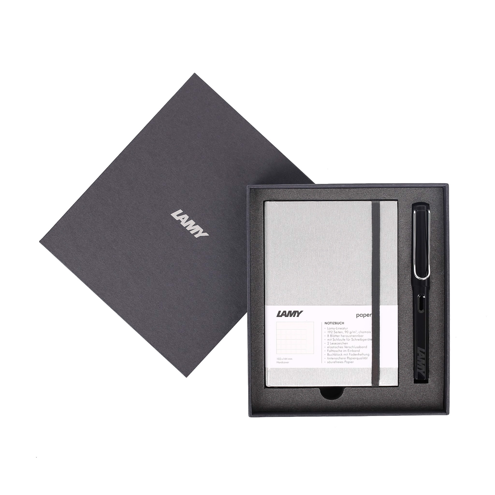 Gift set LAMY Notebook A6 softcover Grey + LAMY Safari Shiny Black