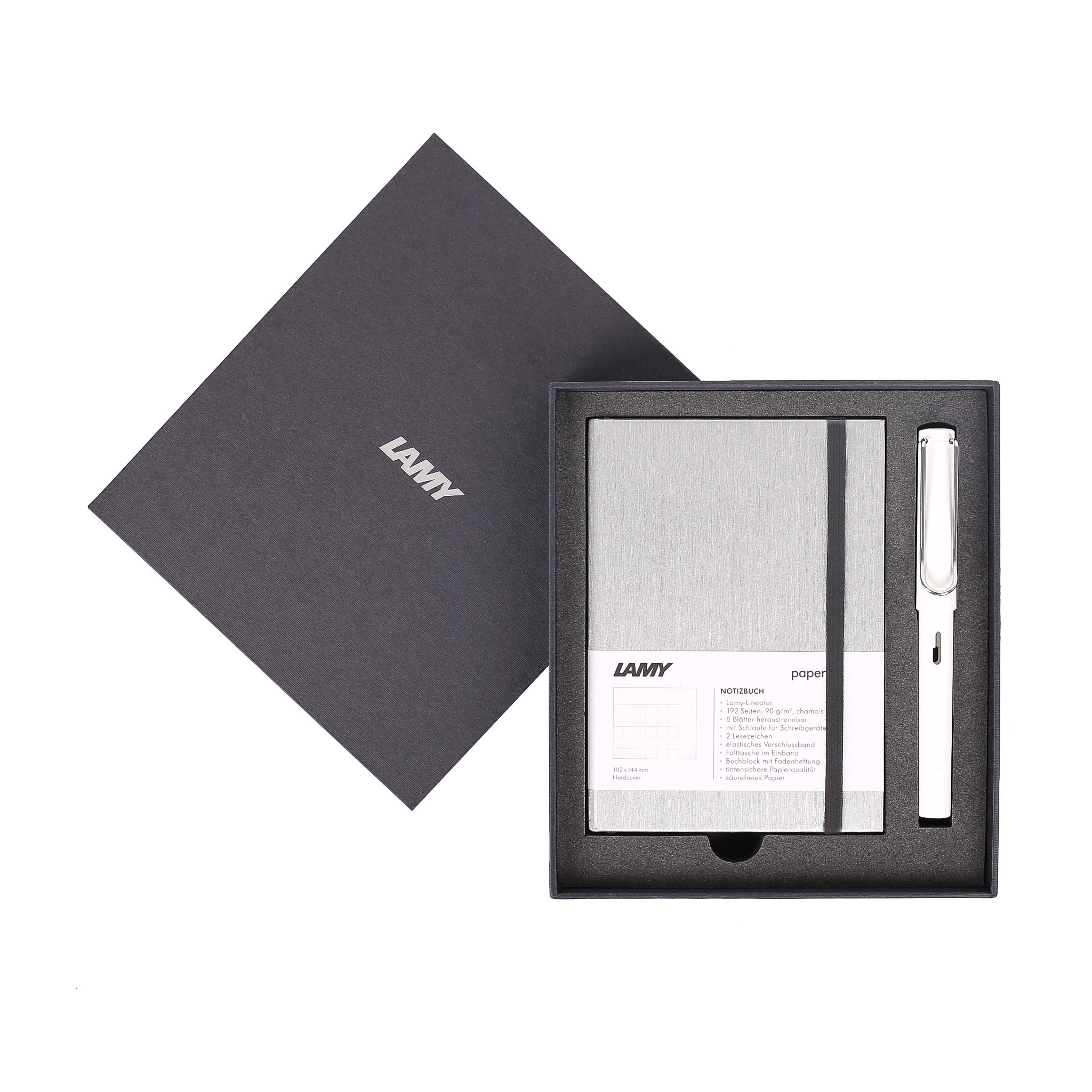 Gift set LAMY Notebook A6 softcover Grey + LAMY Safari White