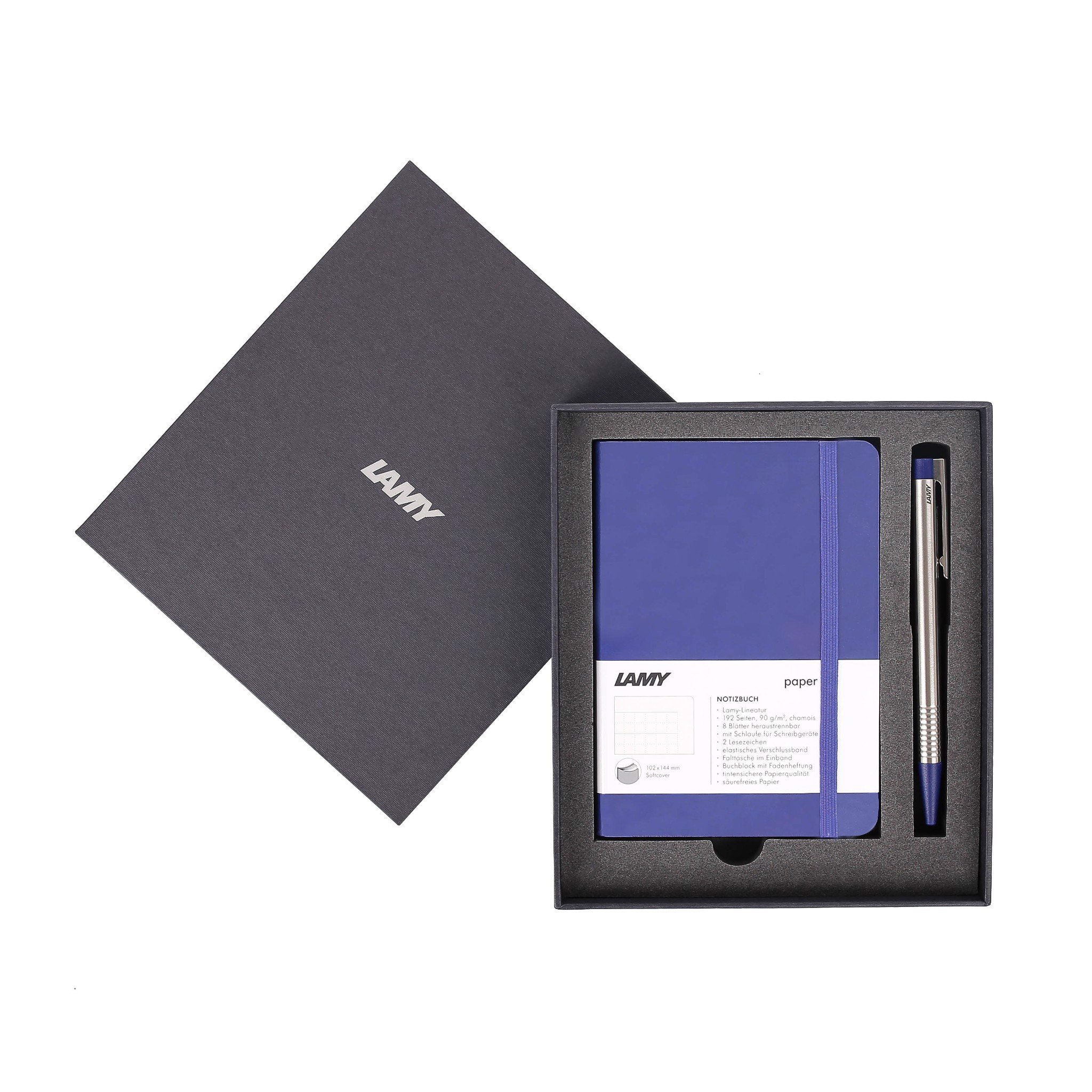 Gift set LAMY Notebook A6 softcover Blue + LAMY Logo Black