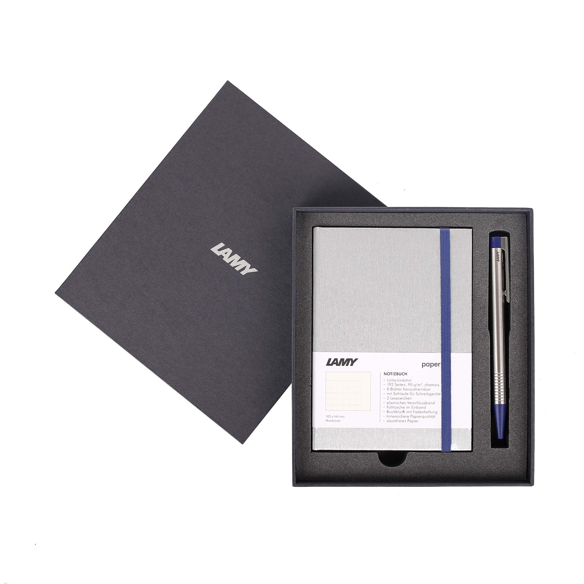 Gift set LAMY Notebook A6 softcover Grey + LAMY Logo blue