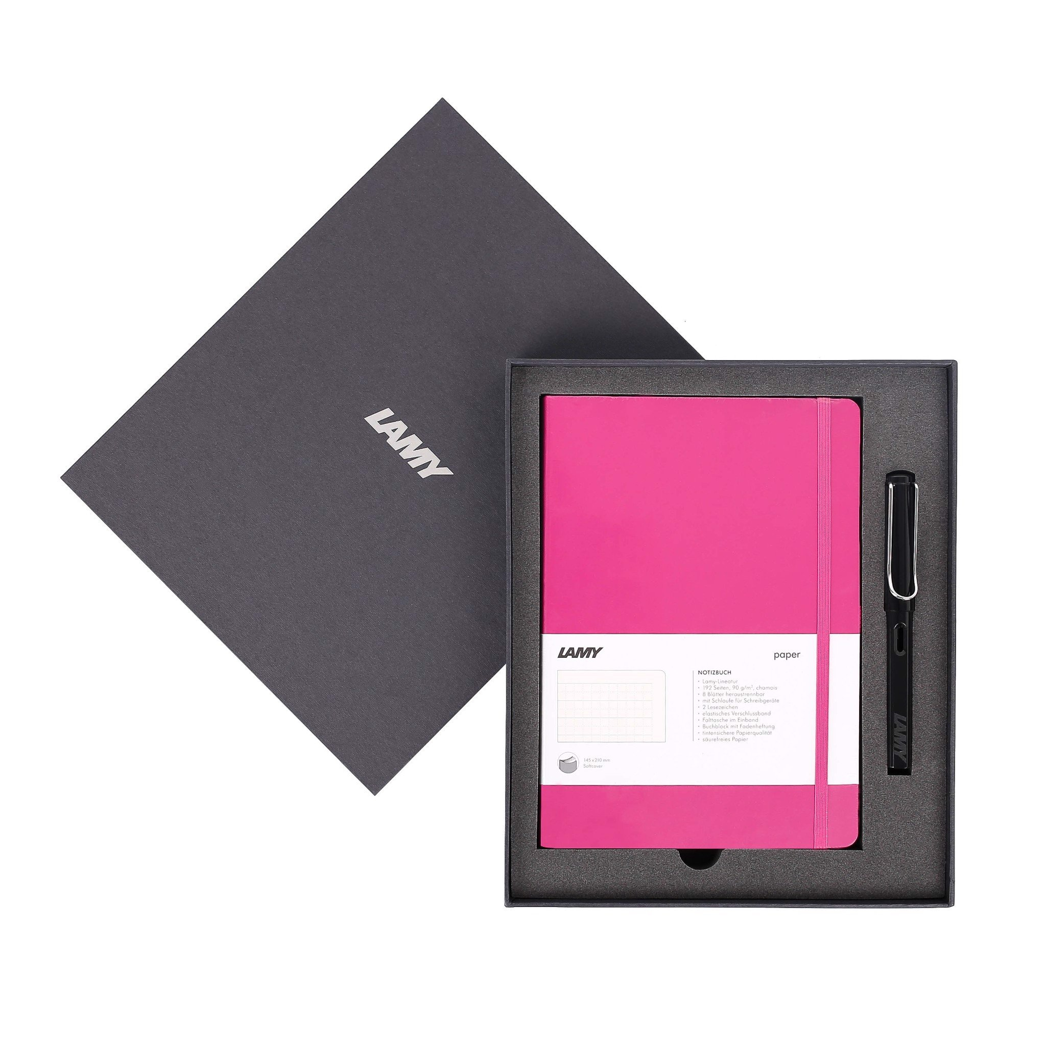 Gift set LAMY Notebook A5 softcover Pink+ LAMY Safari Shiny Black