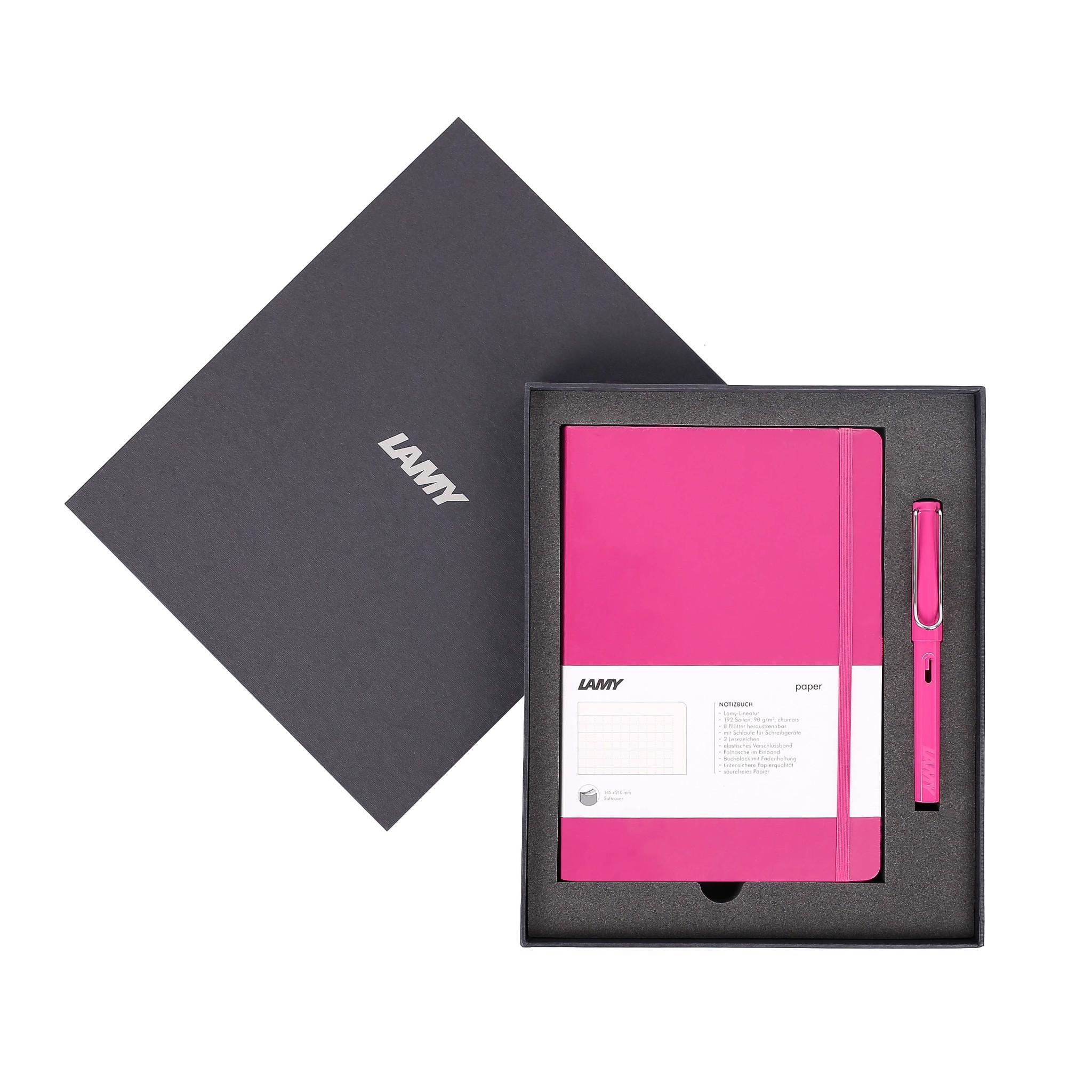 Gift set LAMY Notebook A5 softcover Pink+ LAMY Safari Pink