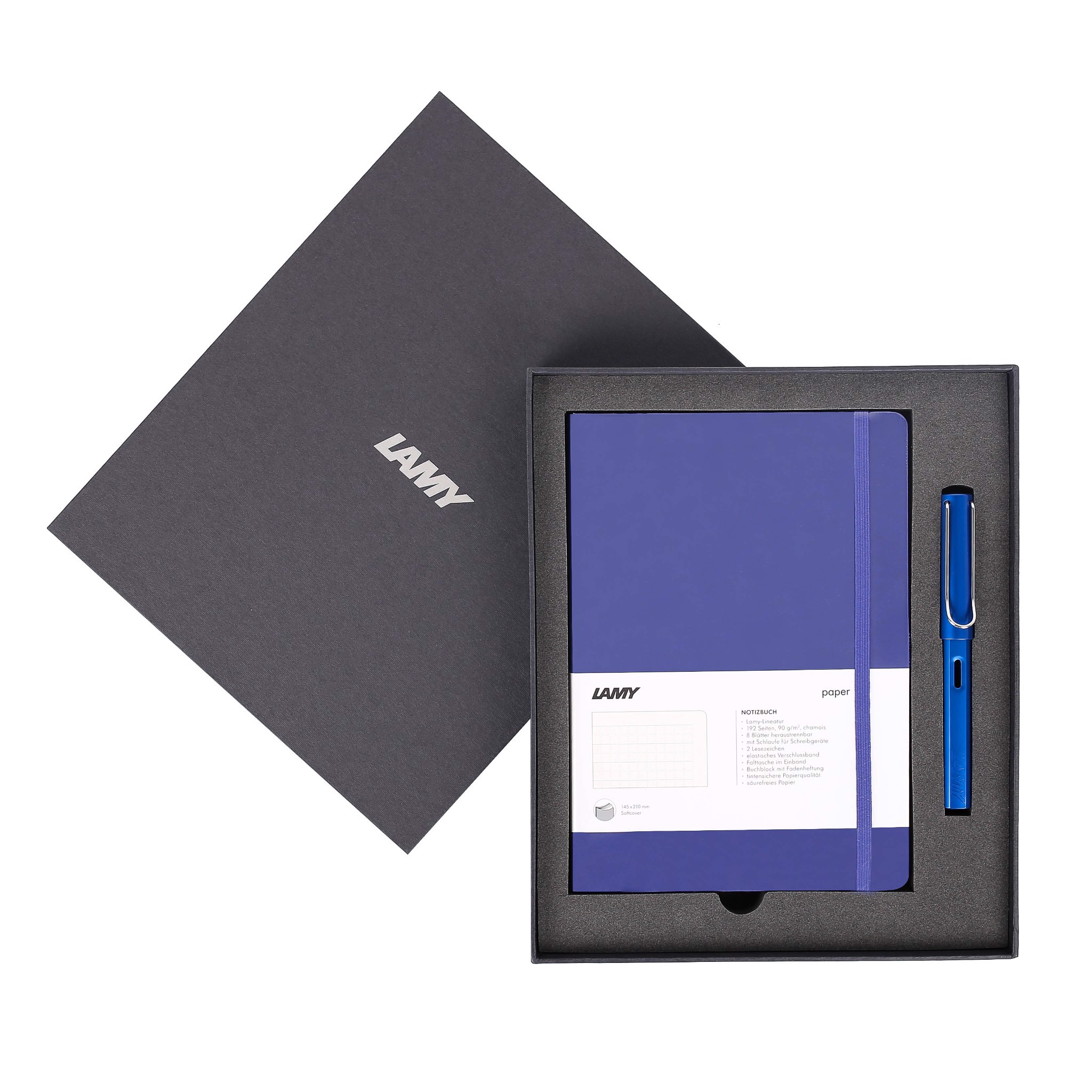 Gift set LAMY Notebook A5 softcover Blue + LAMY Safari Blue