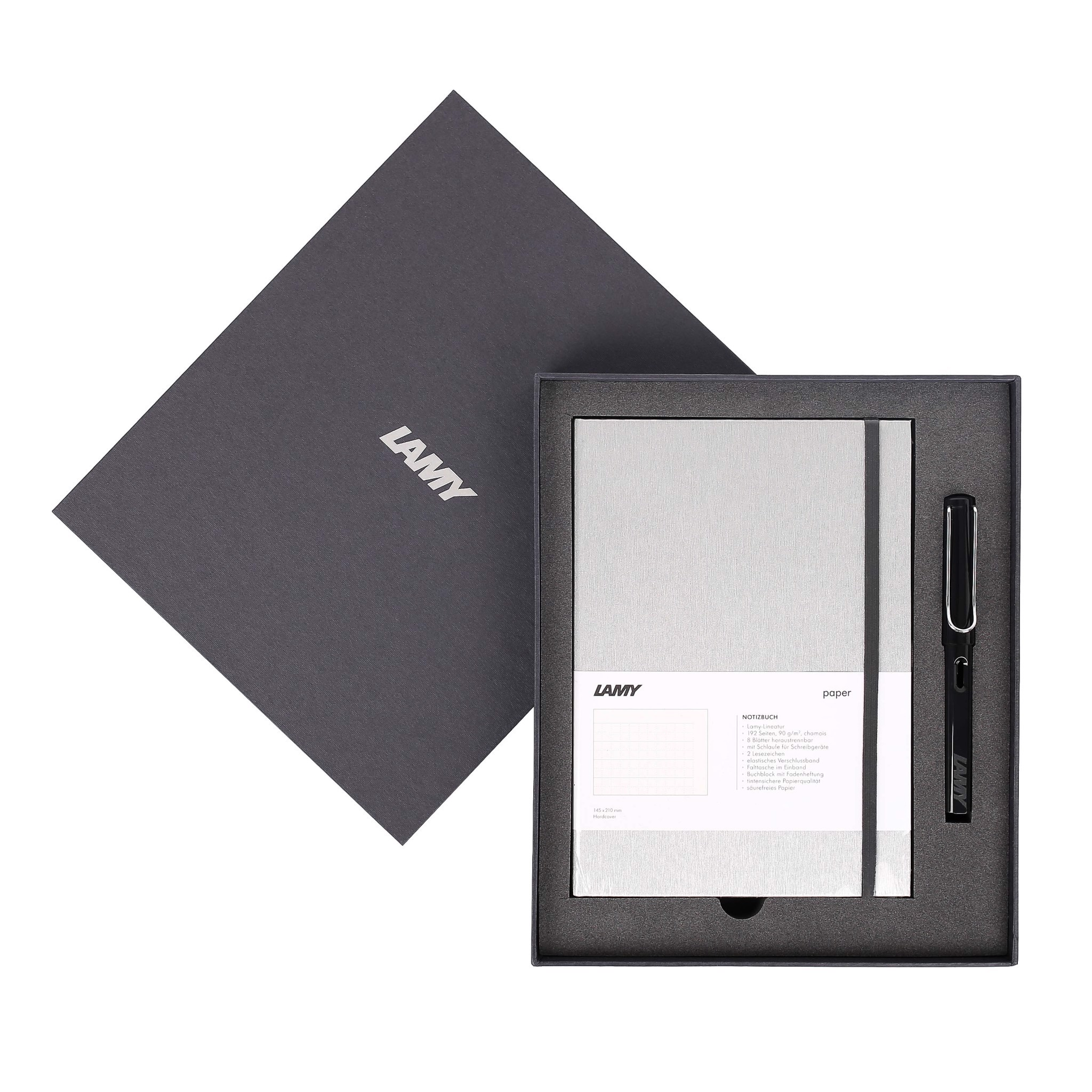 Gift set LAMY Notebook A5 softcover Grey+ LAMY Safari Black