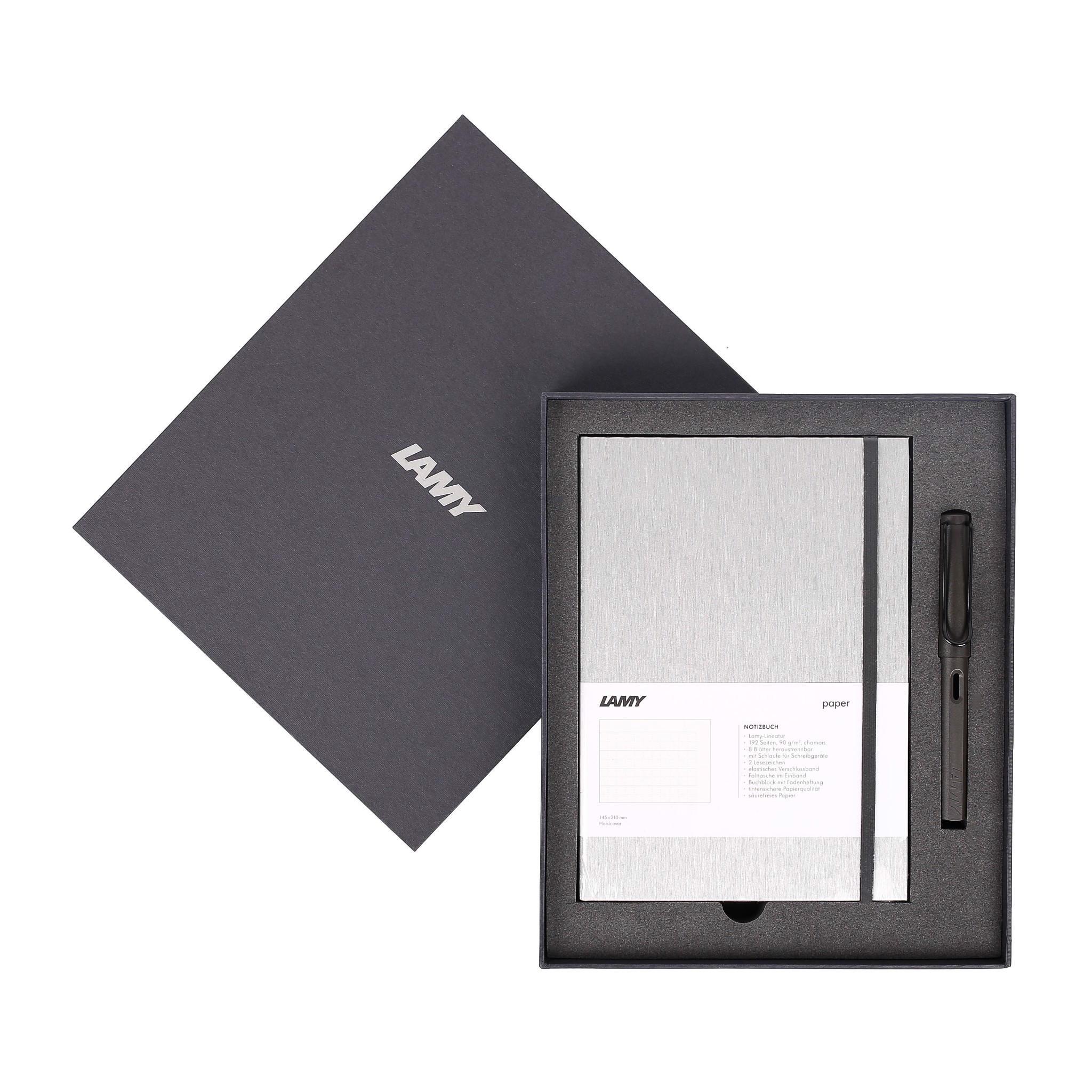 Gift set LAMY Notebook A5 softcover Grey+ LAMY Safari Matt Black