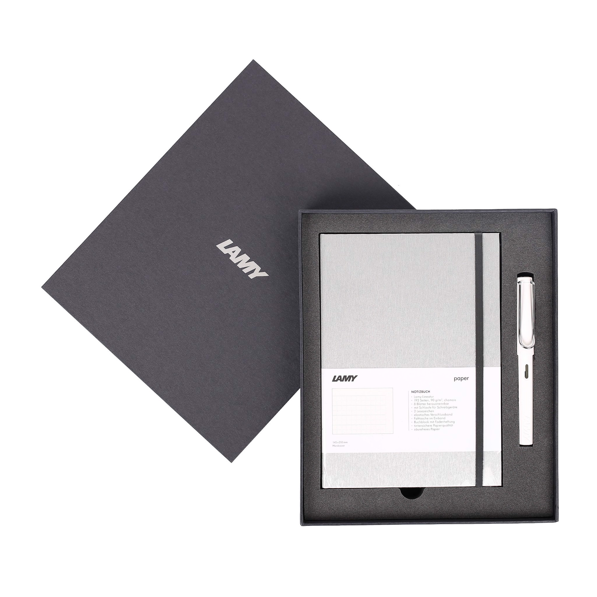 Gift set LAMY Notebook A5 softcover Grey+ LAMY Safari White