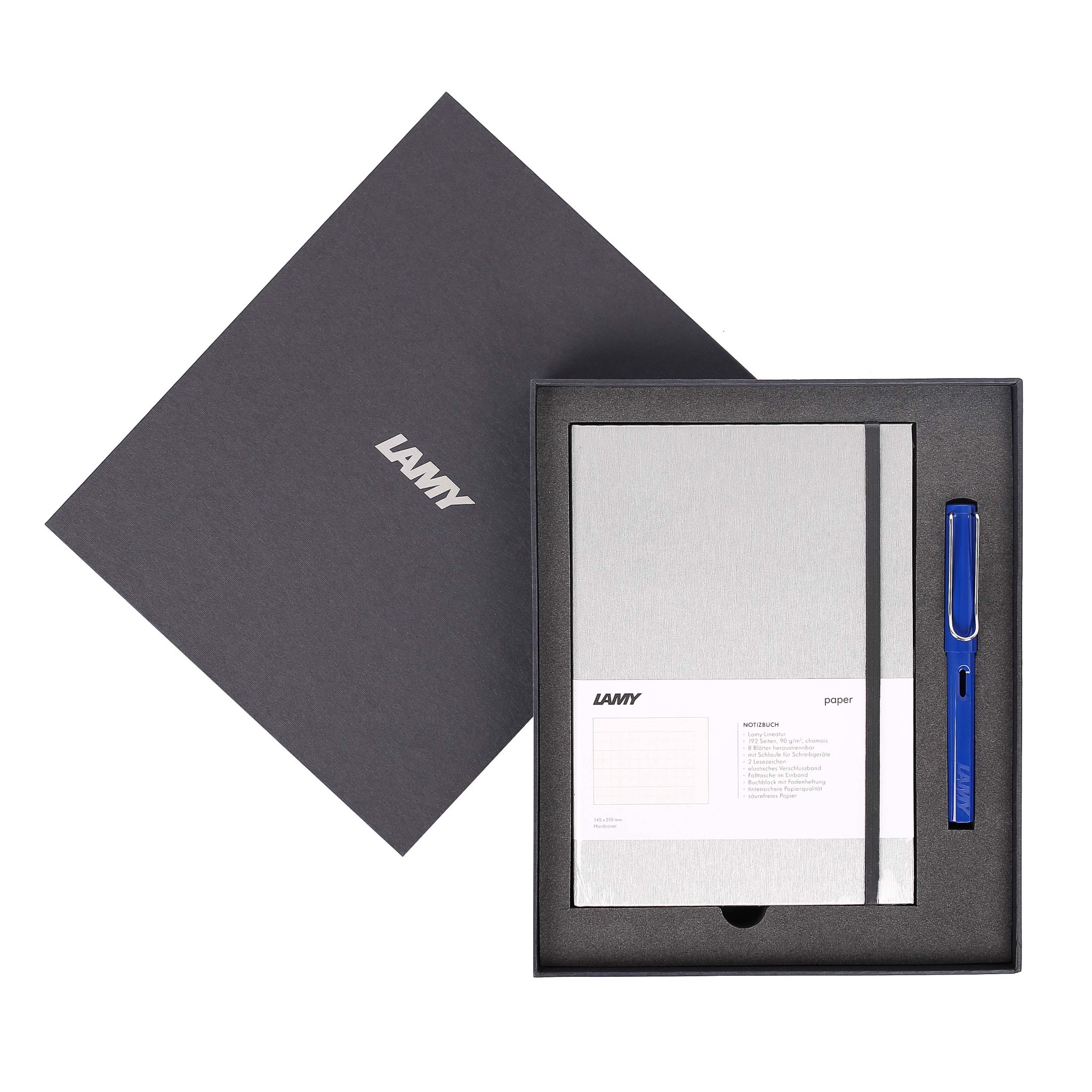 Gift set LAMY Notebook A5 softcover Grey+ LAMY Safari Blue