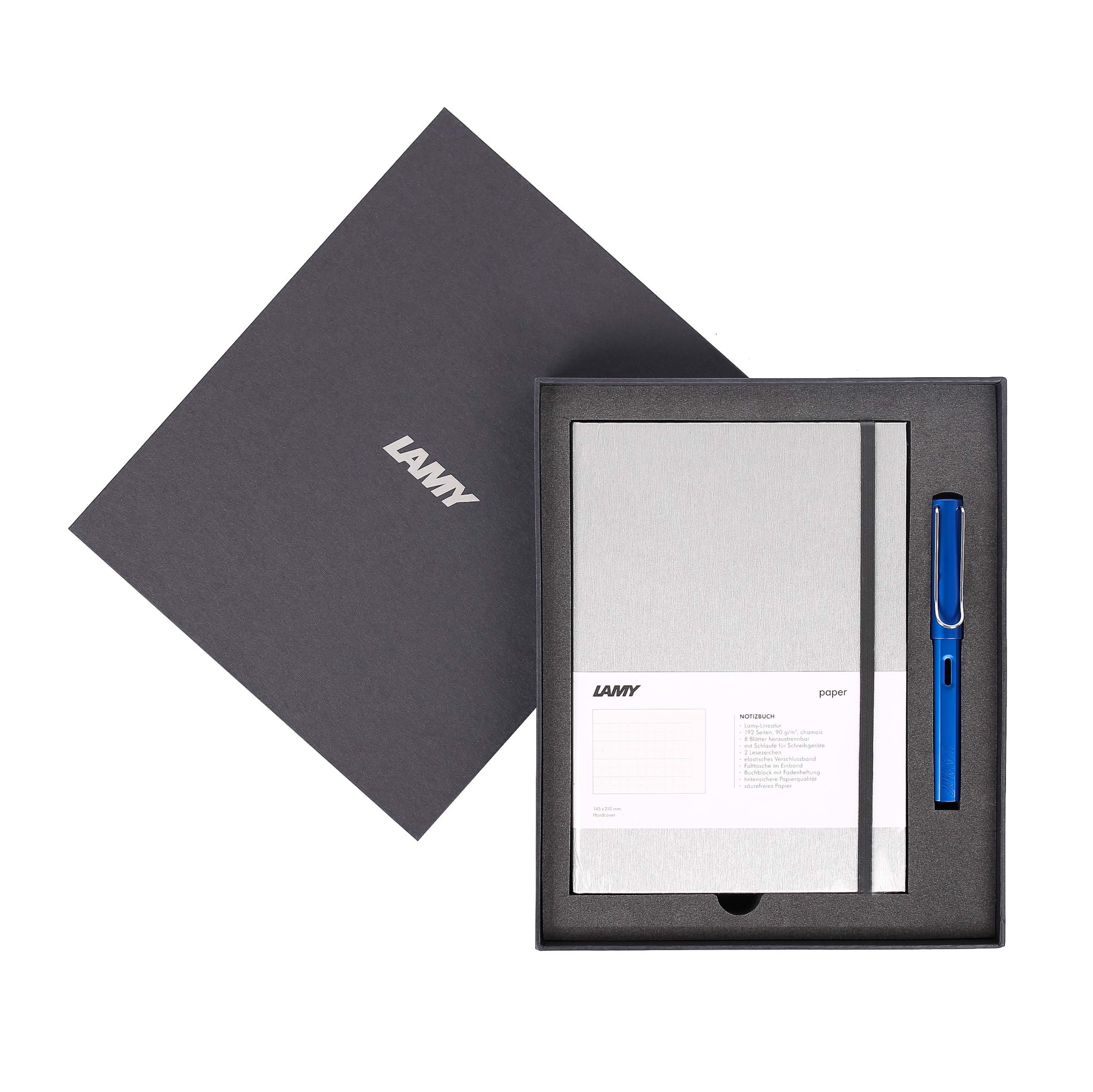 Gift set LAMY Notebook A5 softcover Grey + LAMY Al-star Blue