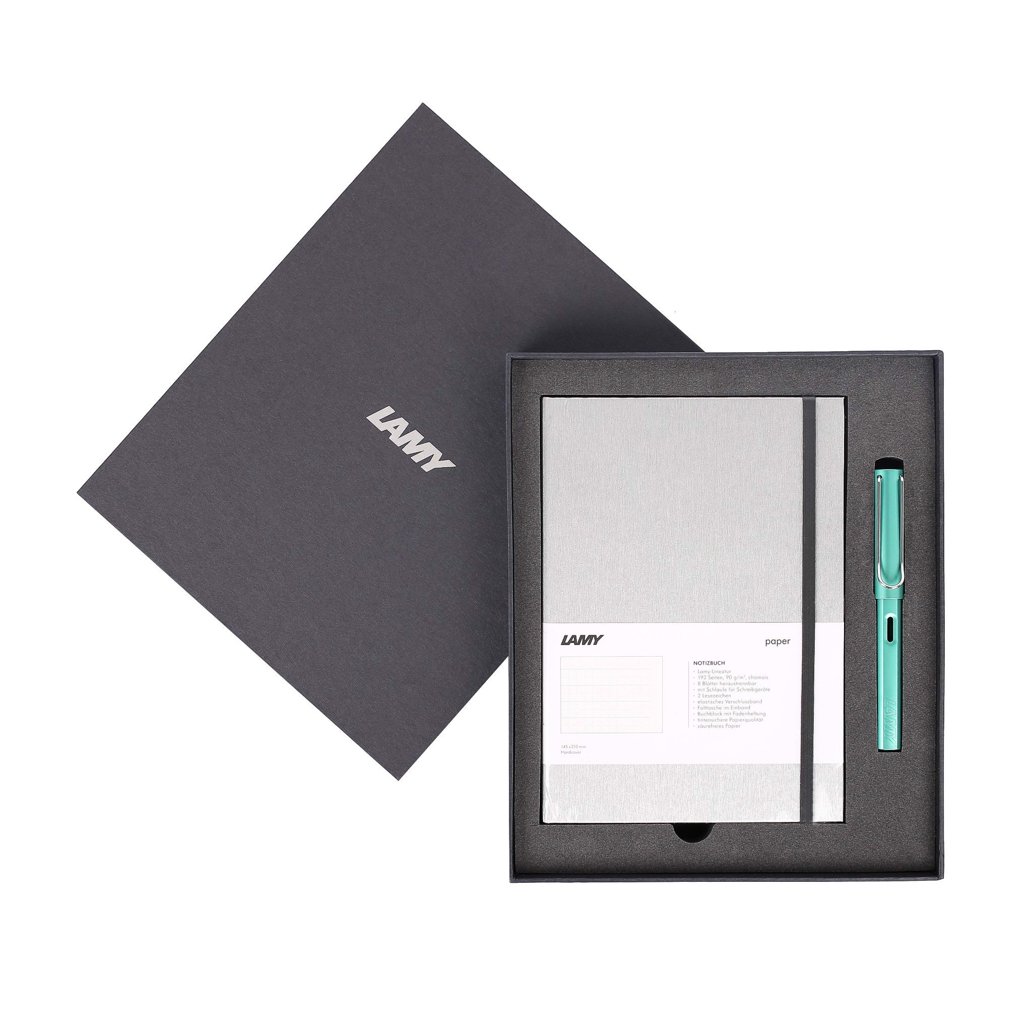 Gift set LAMY Notebook A5 softcover Grey + LAMY Al-star Bluegreen