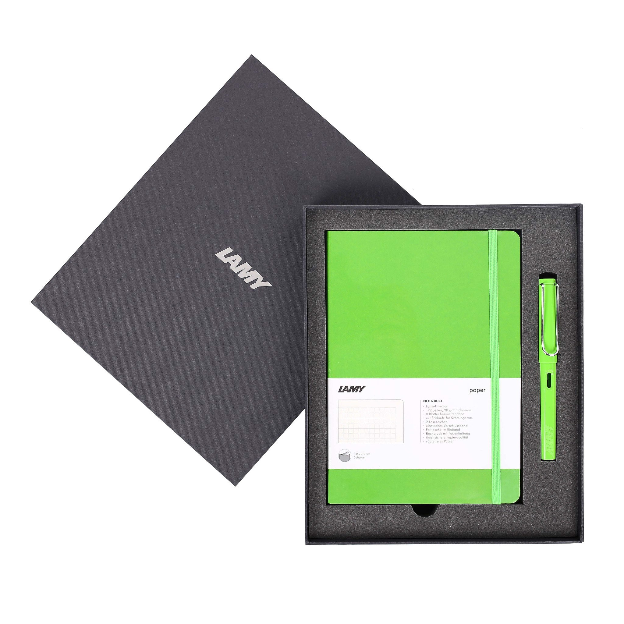 Gift set LAMY Notebook A5 softcover Green+ LAMY Safari Green