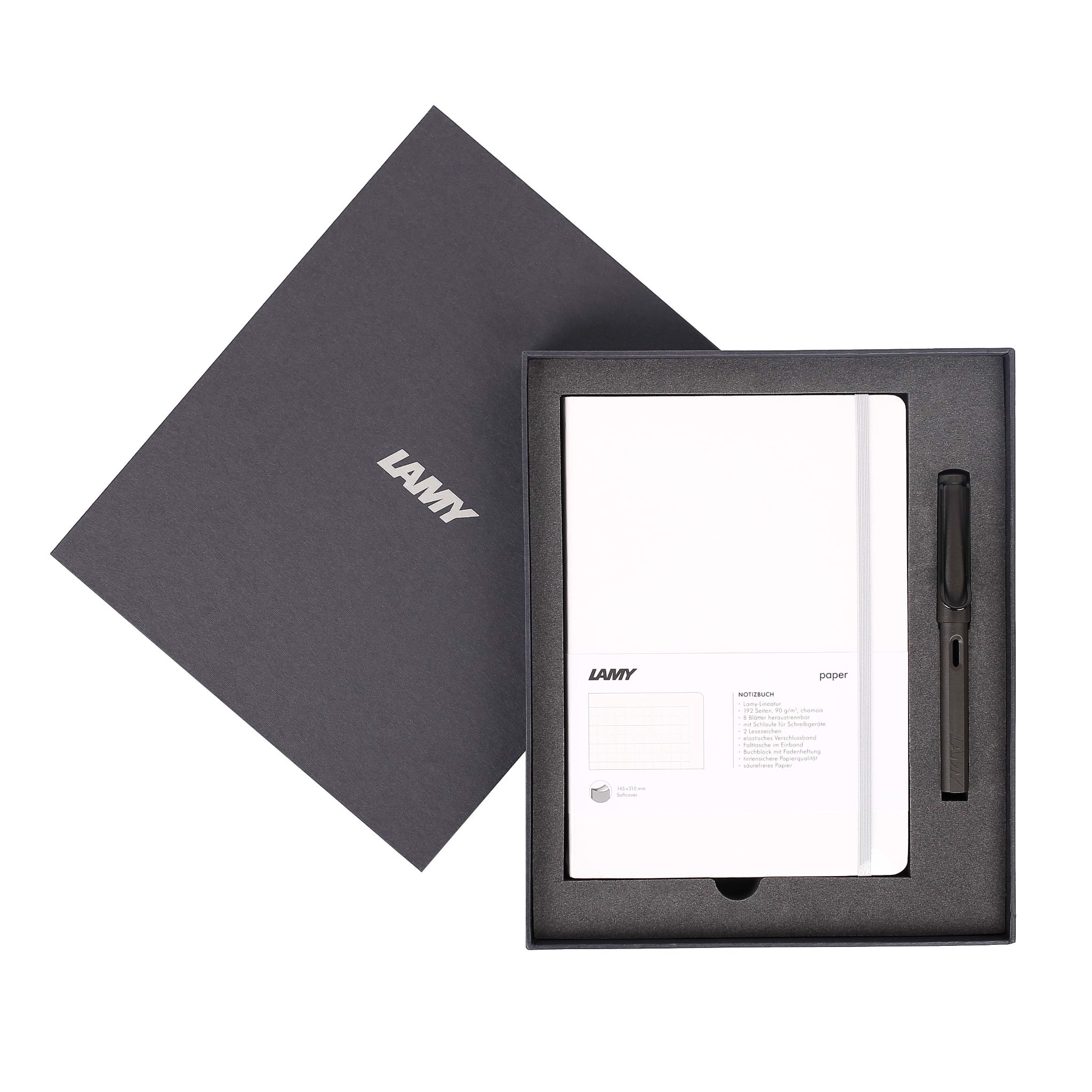 LAMY Notebook A5 softcover White + LAMY Safari Matt Black