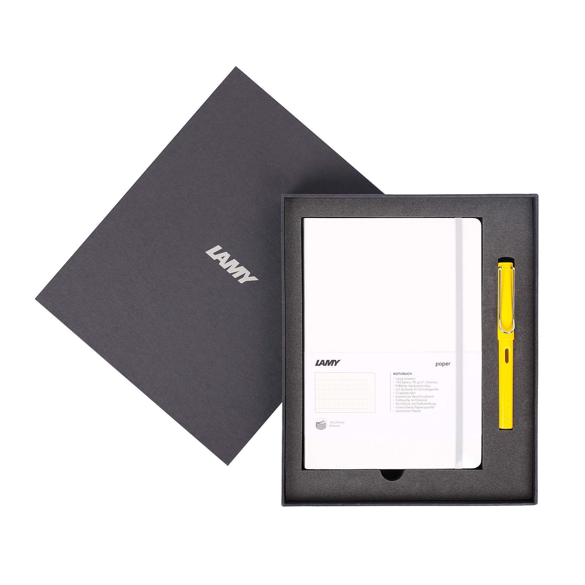 LAMY Notebook A5 softcover White + LAMY Safari Yellow