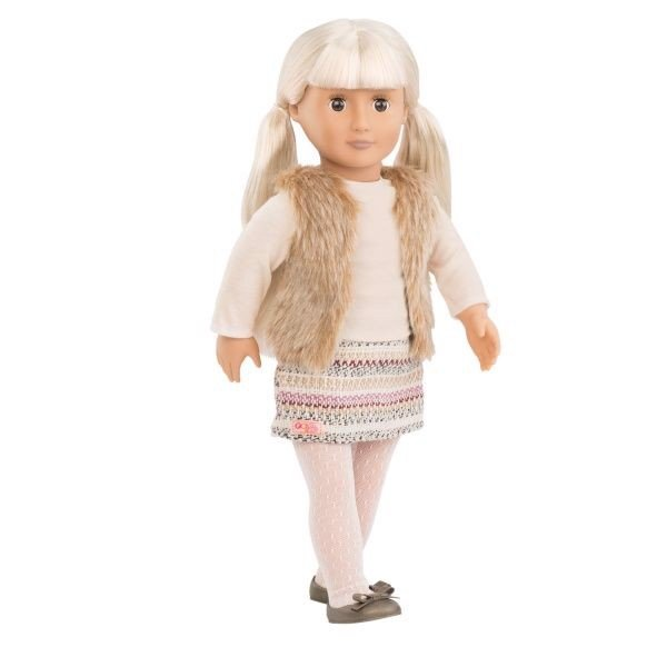 Doll W/ Hooded Furry Vest - Aria