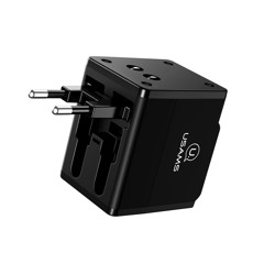 Bộ sạc du lịch toàn cầu USAMS US-CC044 T2 Dual USB Universal Travel Charger( 4 in 1 Adapter,US/AU/EU/UK)