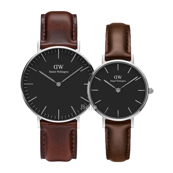Daniel Wellington Black Bristol Silver Couple 36-28