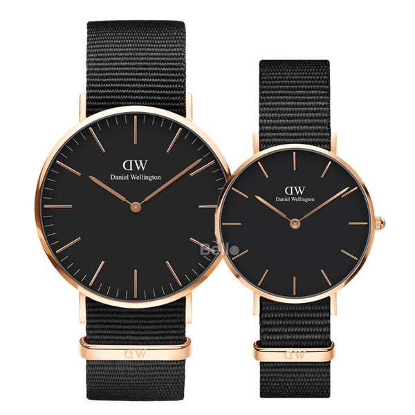 Daniel Wellington Black Cornwall Rose Gold Couple 40-32