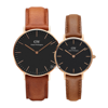 Daniel Wellington Black Durham Rose Gold Couple 36-28