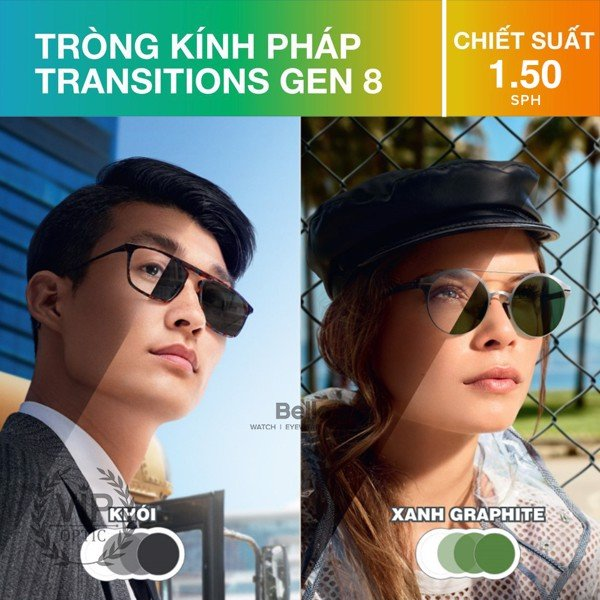 Essilor Transition Signature Gen 8 1.50 SPH Màu Khói/Xanh Graphite