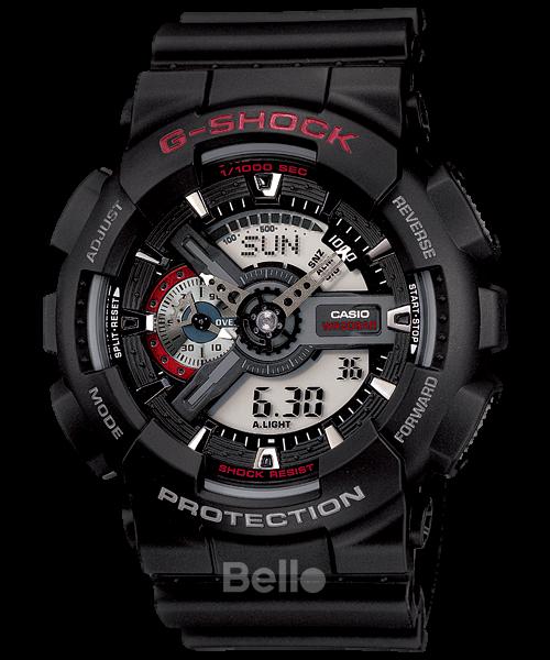 GA-110-1A - Đồng hồ Casio G-Shock chính hãng dây và vỏ đen nhám.